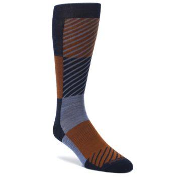 Navy-Burnt-Orange-Gunnar-Checkered-Wool-Mens-Casual-Socks-Smartwool
