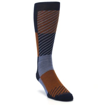 Image of Navy Burnt Orange Gunnar Checkered Wool Men's Casual Socks (side-1-front-02)