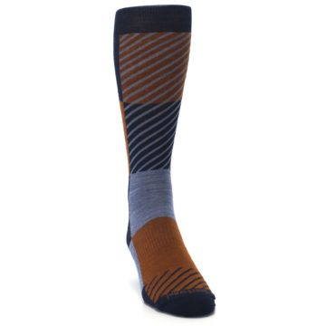 Image of Navy Burnt Orange Gunnar Checkered Wool Men's Casual Socks (side-1-front-03)