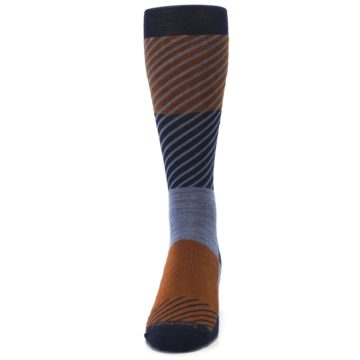 Image of Navy Burnt Orange Gunnar Checkered Wool Men's Casual Socks (front-05)