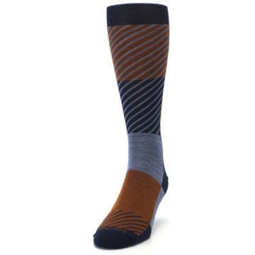 Image of Navy Burnt Orange Gunnar Checkered Wool Men's Casual Socks (side-2-front-06)