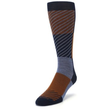 Image of Navy Burnt Orange Gunnar Checkered Wool Men's Casual Socks (side-2-front-07)