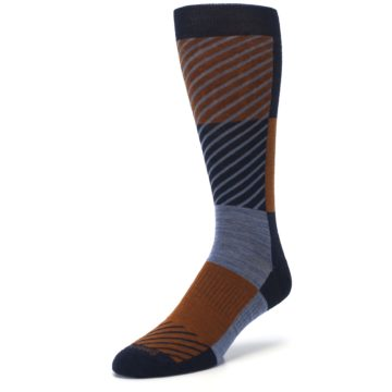 Image of Navy Burnt Orange Gunnar Checkered Wool Men's Casual Socks (side-2-front-08)