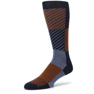 Image of Navy Burnt Orange Gunnar Checkered Wool Men's Casual Socks (side-2-09)