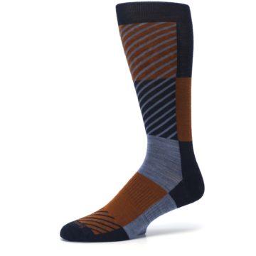 Image of Navy Burnt Orange Gunnar Checkered Wool Men's Casual Socks (side-2-10)