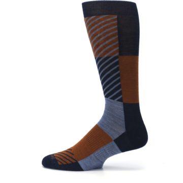 Image of Navy Burnt Orange Gunnar Checkered Wool Men's Casual Socks (side-2-12)