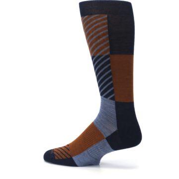 Image of Navy Burnt Orange Gunnar Checkered Wool Men's Casual Socks (side-2-13)