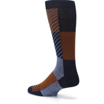Image of Navy Burnt Orange Gunnar Checkered Wool Men's Casual Socks (side-2-back-14)