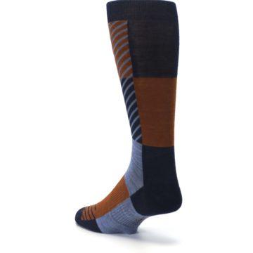 Image of Navy Burnt Orange Gunnar Checkered Wool Men's Casual Socks (side-2-back-15)