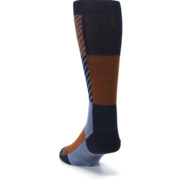 Image of Navy Burnt Orange Gunnar Checkered Wool Men's Casual Socks (side-2-back-16)