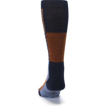 Image of Navy Burnt Orange Gunnar Checkered Wool Men's Casual Socks (back-17)