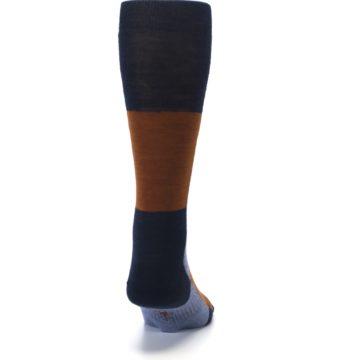 Image of Navy Burnt Orange Gunnar Checkered Wool Men's Casual Socks (back-19)