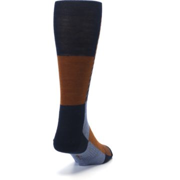Image of Navy Burnt Orange Gunnar Checkered Wool Men's Casual Socks (side-1-back-20)