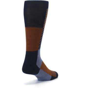 Image of Navy Burnt Orange Gunnar Checkered Wool Men's Casual Socks (side-1-back-21)