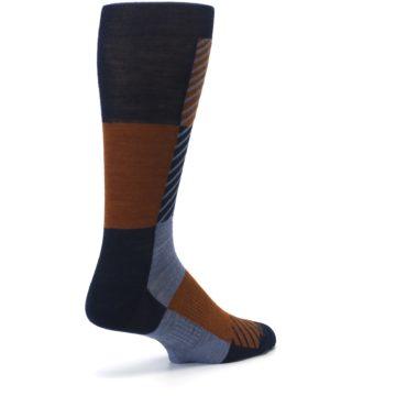 Image of Navy Burnt Orange Gunnar Checkered Wool Men's Casual Socks (side-1-back-22)