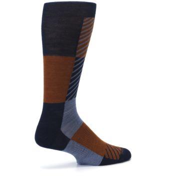 Image of Navy Burnt Orange Gunnar Checkered Wool Men's Casual Socks (side-1-23)