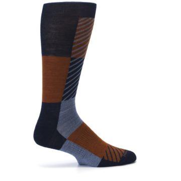 Image of Navy Burnt Orange Gunnar Checkered Wool Men's Casual Socks (side-1-24)