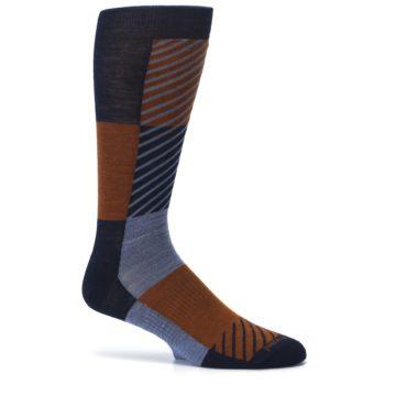 Image of Navy Burnt Orange Gunnar Checkered Wool Men's Casual Socks (side-1-25)
