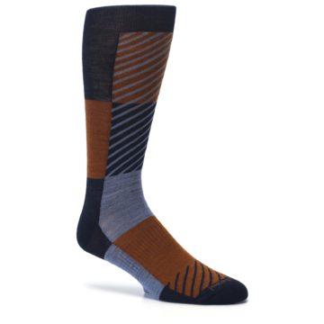 Image of Navy Burnt Orange Gunnar Checkered Wool Men's Casual Socks (side-1-26)