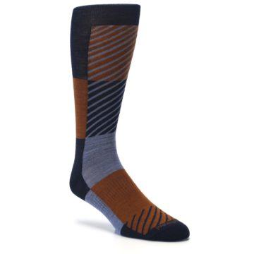 Image of Navy Burnt Orange Gunnar Checkered Wool Men's Casual Socks (side-1-27)