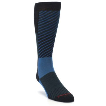 Image of Charcoal Blue Gunnar Checkered Wool Men's Casual Socks (side-1-front-02)