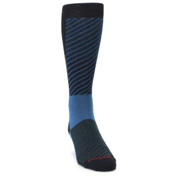 Image of Charcoal Blue Gunnar Checkered Wool Men's Casual Socks (side-1-front-03)