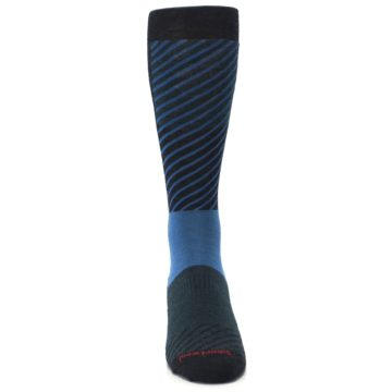 Image of Charcoal Blue Gunnar Checkered Wool Men's Casual Socks (front-04)