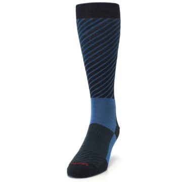 Image of Charcoal Blue Gunnar Checkered Wool Men's Casual Socks (side-2-front-06)