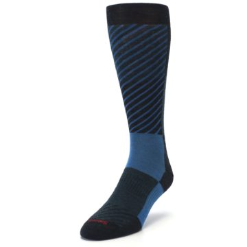 Image of Charcoal Blue Gunnar Checkered Wool Men's Casual Socks (side-2-front-07)
