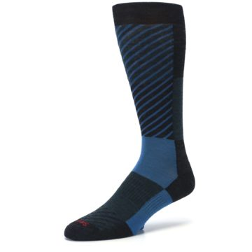 Image of Charcoal Blue Gunnar Checkered Wool Men's Casual Socks (side-2-09)