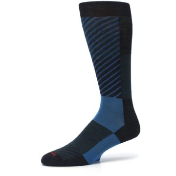 Image of Charcoal Blue Gunnar Checkered Wool Men's Casual Socks (side-2-10)