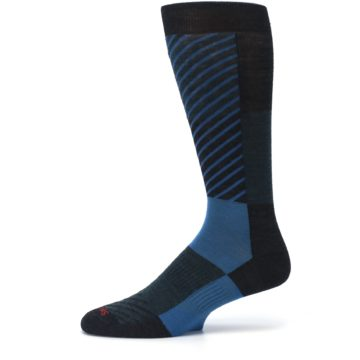 Image of Charcoal Blue Gunnar Checkered Wool Men's Casual Socks (side-2-11)