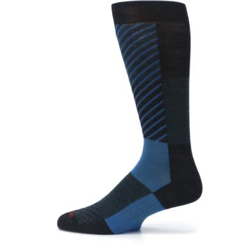 Image of Charcoal Blue Gunnar Checkered Wool Men's Casual Socks (side-2-12)