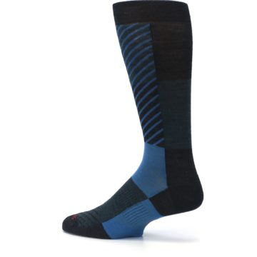 Image of Charcoal Blue Gunnar Checkered Wool Men's Casual Socks (side-2-13)