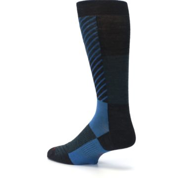 Image of Charcoal Blue Gunnar Checkered Wool Men's Casual Socks (side-2-back-14)
