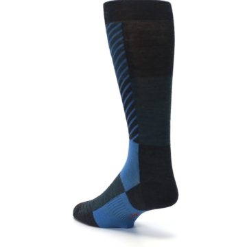 Image of Charcoal Blue Gunnar Checkered Wool Men's Casual Socks (side-2-back-15)