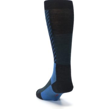 Image of Charcoal Blue Gunnar Checkered Wool Men's Casual Socks (side-2-back-16)