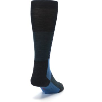 Image of Charcoal Blue Gunnar Checkered Wool Men's Casual Socks (side-1-back-20)