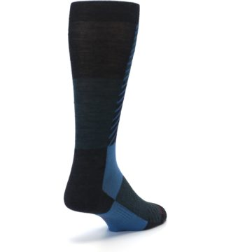 Image of Charcoal Blue Gunnar Checkered Wool Men's Casual Socks (side-1-back-21)