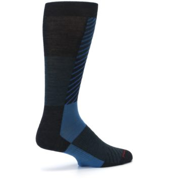 Image of Charcoal Blue Gunnar Checkered Wool Men's Casual Socks (side-1-23)