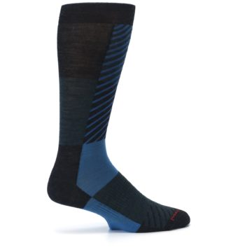 Image of Charcoal Blue Gunnar Checkered Wool Men's Casual Socks (side-1-24)
