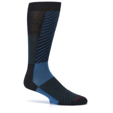 Image of Charcoal Blue Gunnar Checkered Wool Men's Casual Socks (side-1-25)