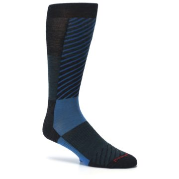 Image of Charcoal Blue Gunnar Checkered Wool Men's Casual Socks (side-1-26)