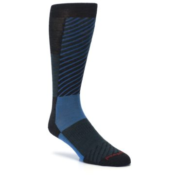 Image of Charcoal Blue Gunnar Checkered Wool Men's Casual Socks (side-1-27)