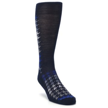 Image of Navy Blue Houndstooth Wool Men's Casual Socks (side-1-front-02)