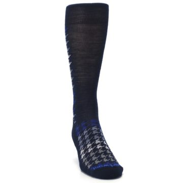 Image of Navy Blue Houndstooth Wool Men's Casual Socks (side-1-front-03)