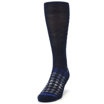 Image of Navy Blue Houndstooth Wool Men's Casual Socks (side-2-front-06)