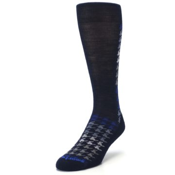 Image of Navy Blue Houndstooth Wool Men's Casual Socks (side-2-front-07)