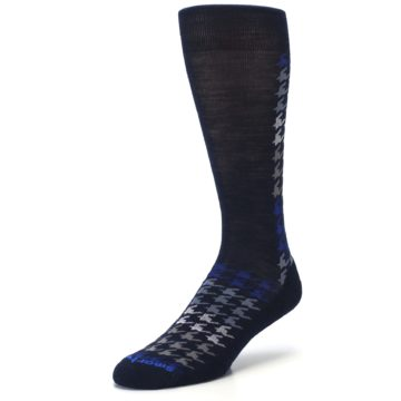 Image of Navy Blue Houndstooth Wool Men's Casual Socks (side-2-front-08)