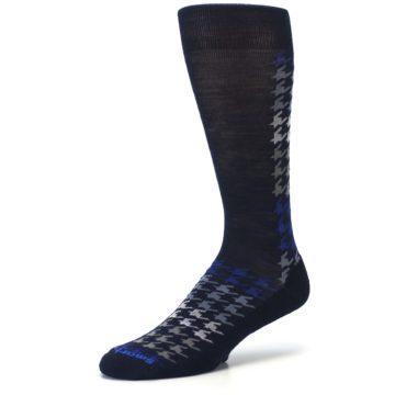 Image of Navy Blue Houndstooth Wool Men's Casual Socks (side-2-09)